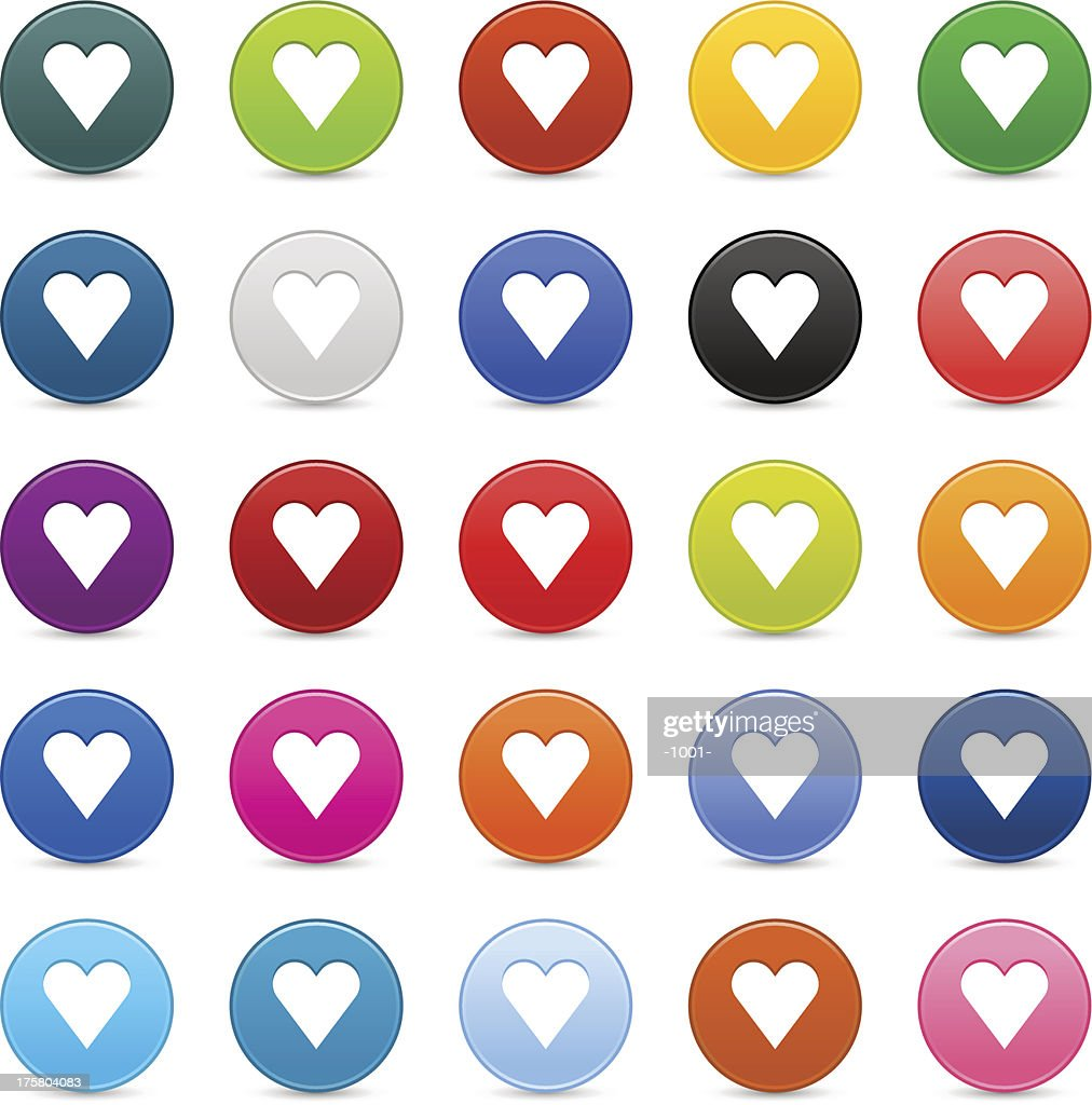 Heart sign satin circle icon web iternet button reflection shadow