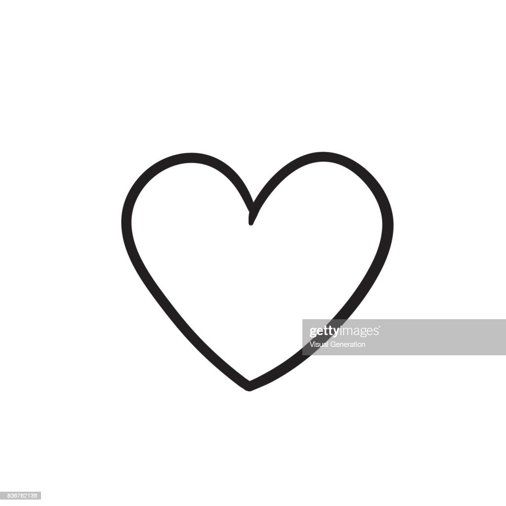 Heart sign sketch icon