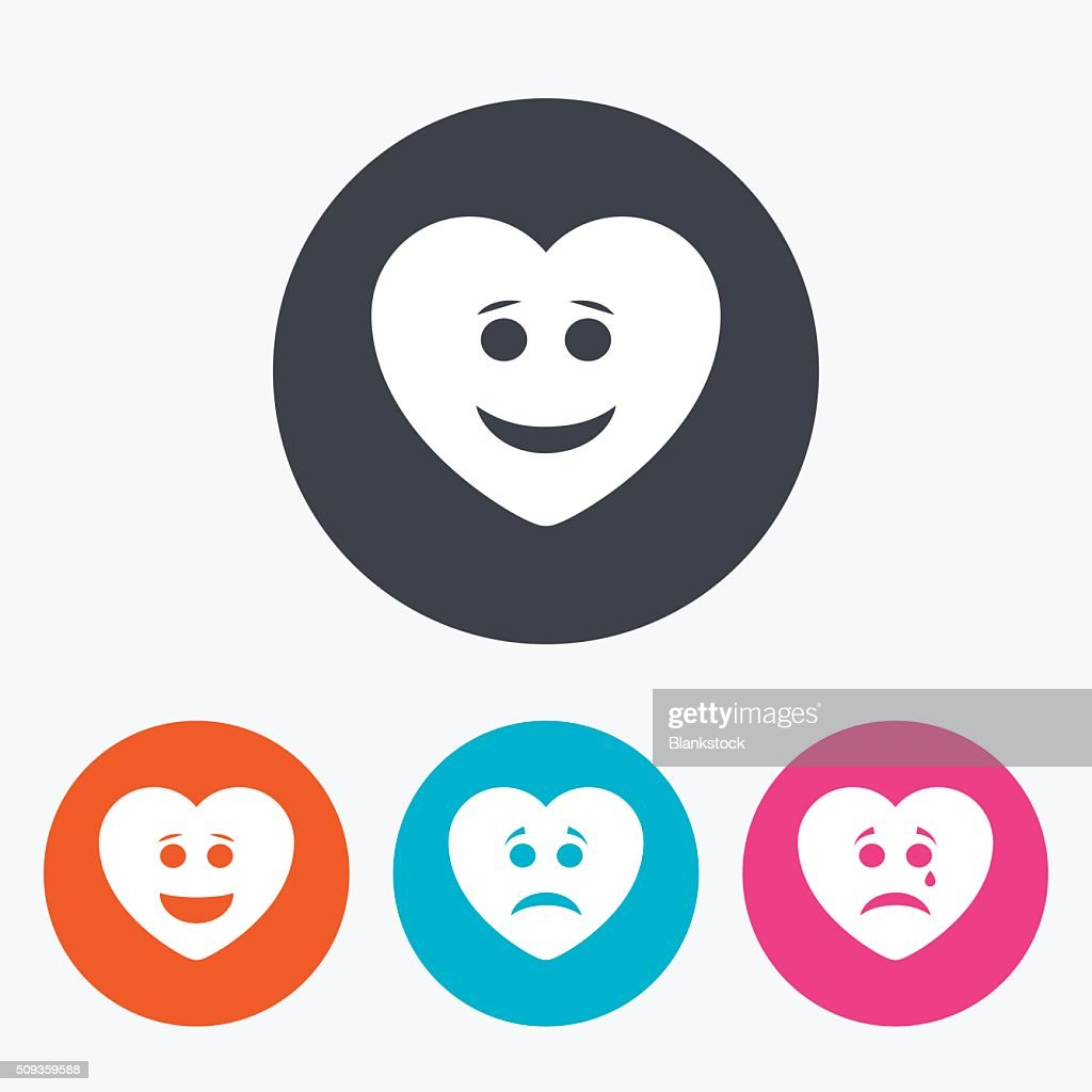 Heart smile face icons. Happy, sad, cry.