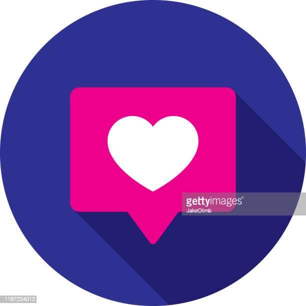 heart speech bubble icon flat circle - auto post production filter stock illustrations