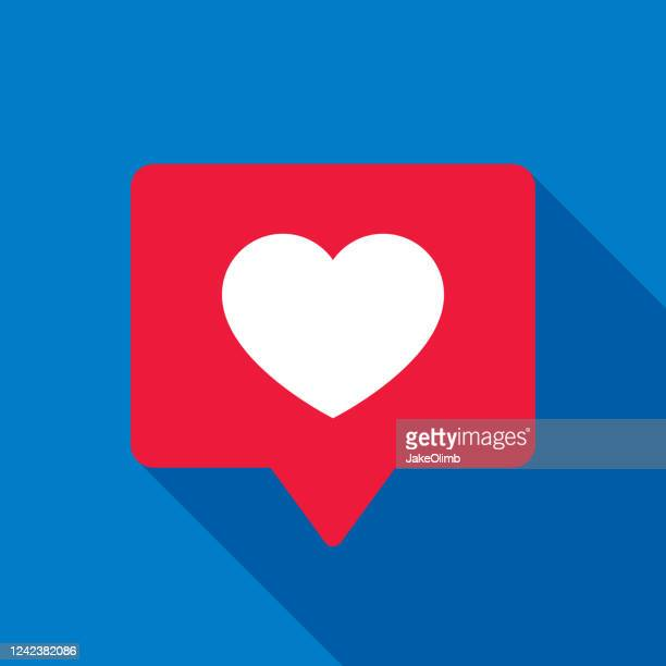 heart speech bubble icon flat - following stock illustrations