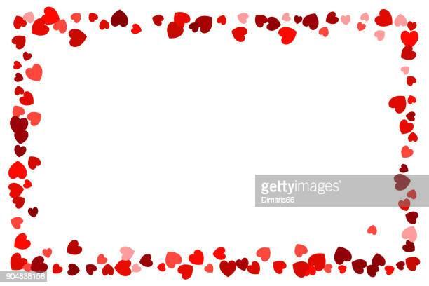 illustrazioni stock, clip art, cartoni animati e icone di tendenza di cornice rossa vuota maculata a cuore da utilizzare come elemento di design - vignettatura