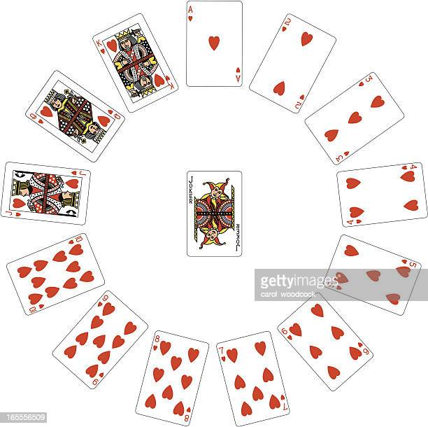 heart suit circle - wild card stock illustrations