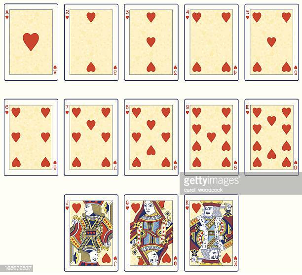 Heart Suit playing cards in color