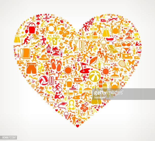 Heart Summer and Vacation royalty free vector art Pattern