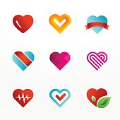 Heart symbol emblem icon set