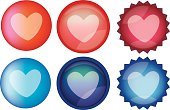Heart Symbol Glossy Round Web Buttons Vector Icon Set