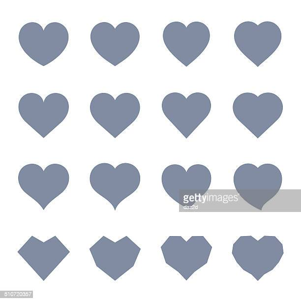 heart symbol set - heart shape stock illustrations