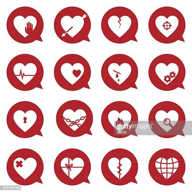 heart symbol set - broken heart stock illustrations