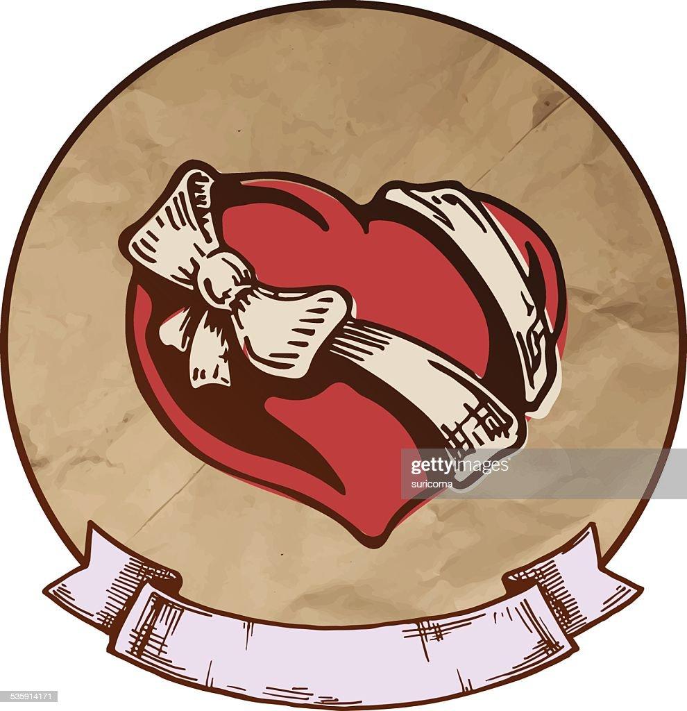 Tatuagem de coração : Arte vetorial