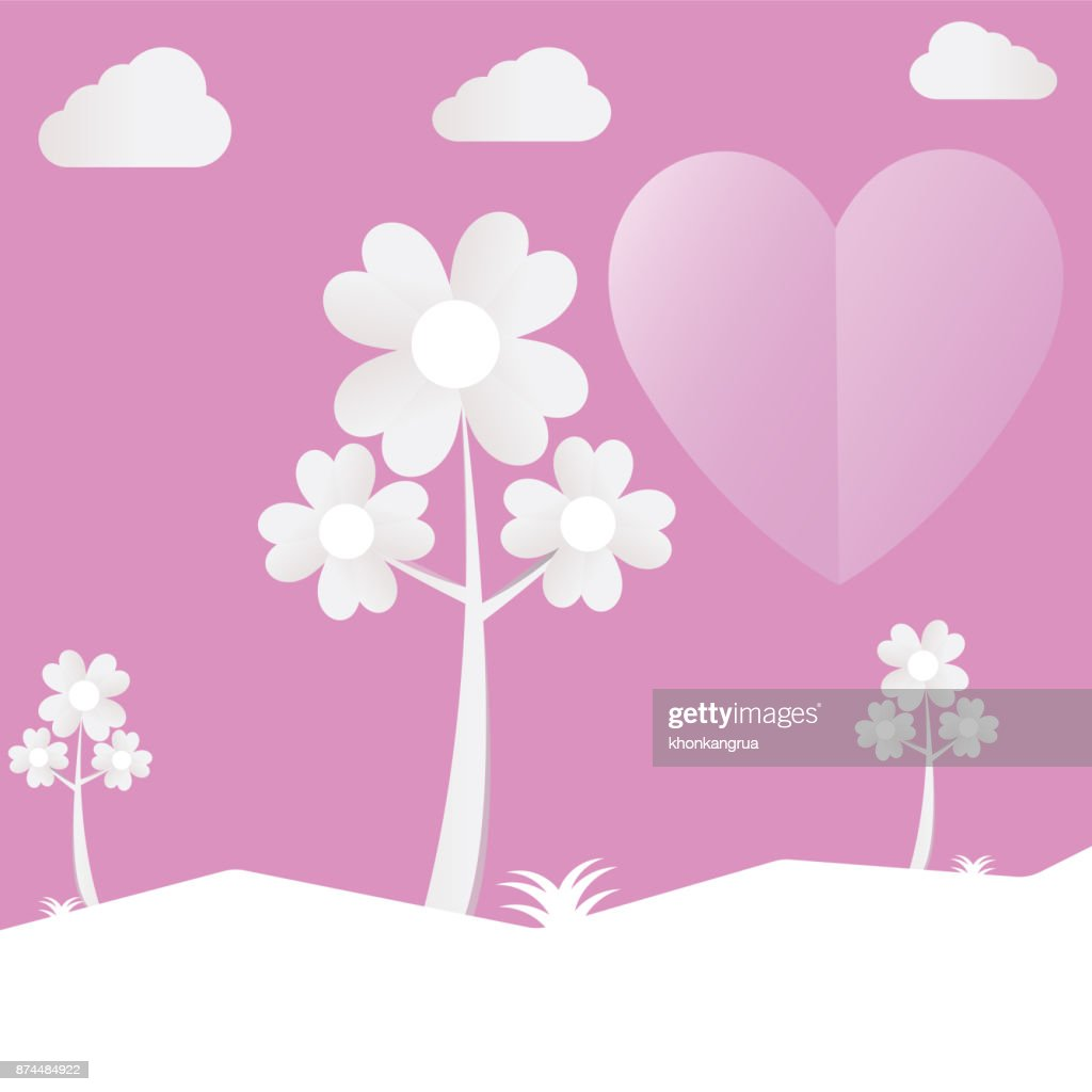 Heart tree cut pink paper love valentine day with clouds.Vector holiday illustration.
