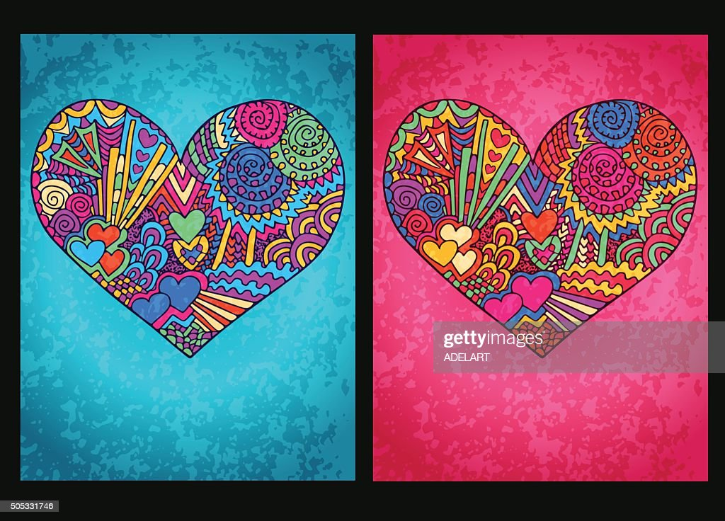 Heart valentines day tangled cards boy girl blue pink