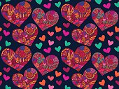 Heart valentines day tangled pattern blue