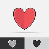 Heart Vector Icon Flat Design