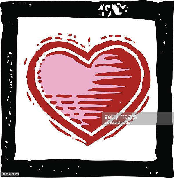 heart - woodcut stock illustrations