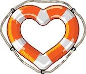 Heart vector isolated lifebuoy