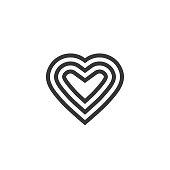 Heart vector logotype, line outline art symbol or decoration design, graceful elegant heart shape sign clipart
