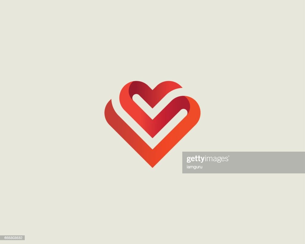 Heart vector symbol. Valentines day ribbon logotype. Abstract line medical health logo icon design.