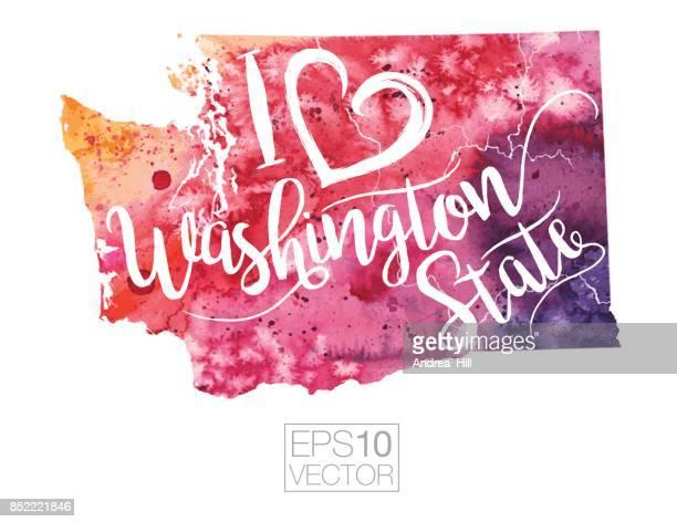 I Heart Washington State Vector Watercolor Map