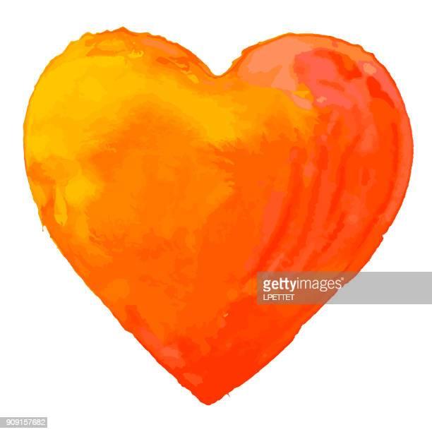 stockillustraties, clipart, cartoons en iconen met hart aquarel - orange