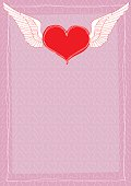 Heart winged paper letter