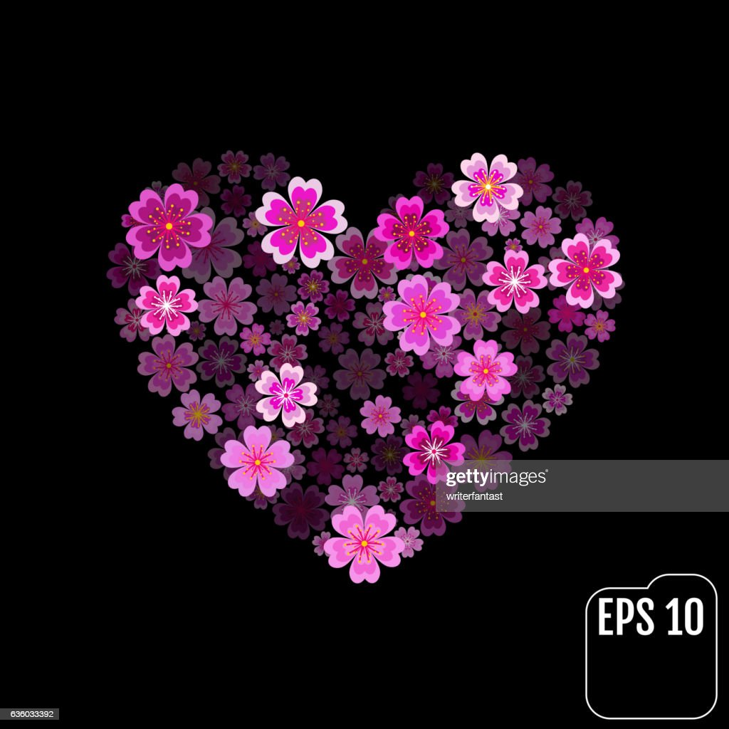 Heart with 3d effect. Sakura heart Vector Art, Stock Vector