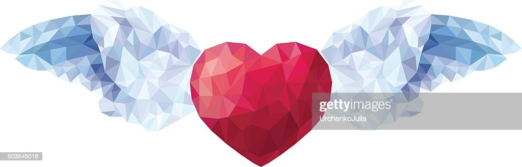 Heart with angel wings in style of triangular low poly