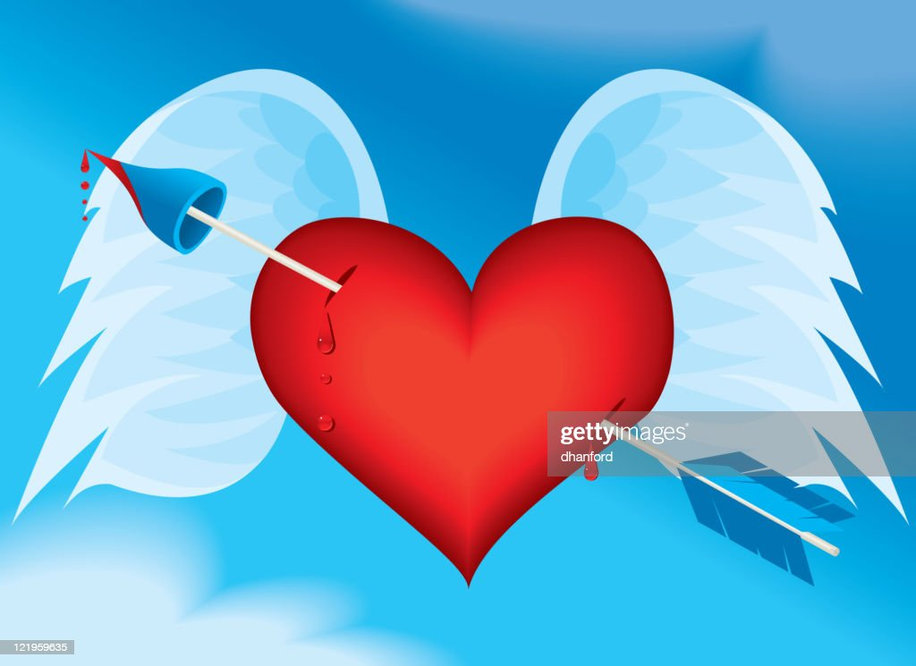 Heart with Arrow and Wings : stock illustration