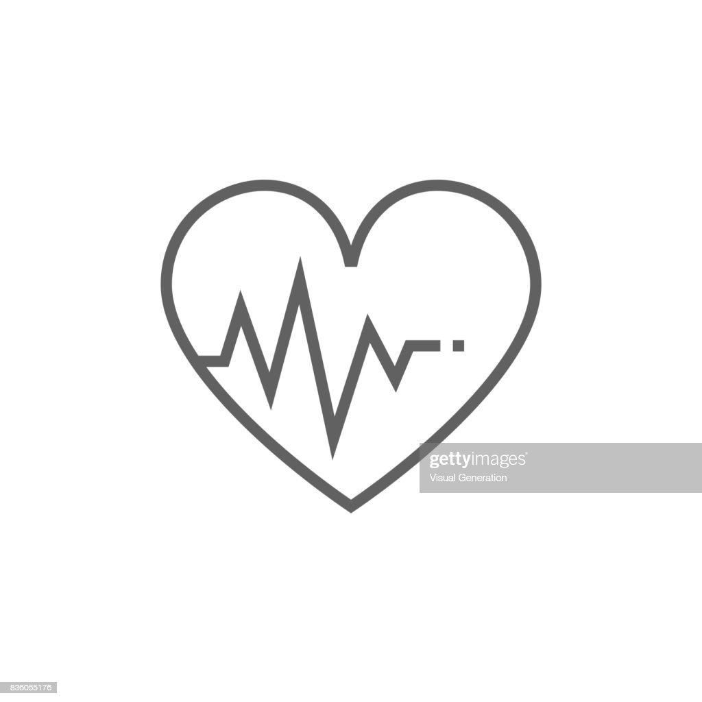 Heart with cardiogram line icon