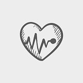 Heart with cardiogram sketch hand drawn doodle icon