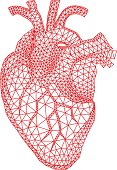 heart with geometric pattern, vector