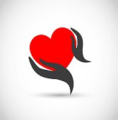 Heart with hands vector icon