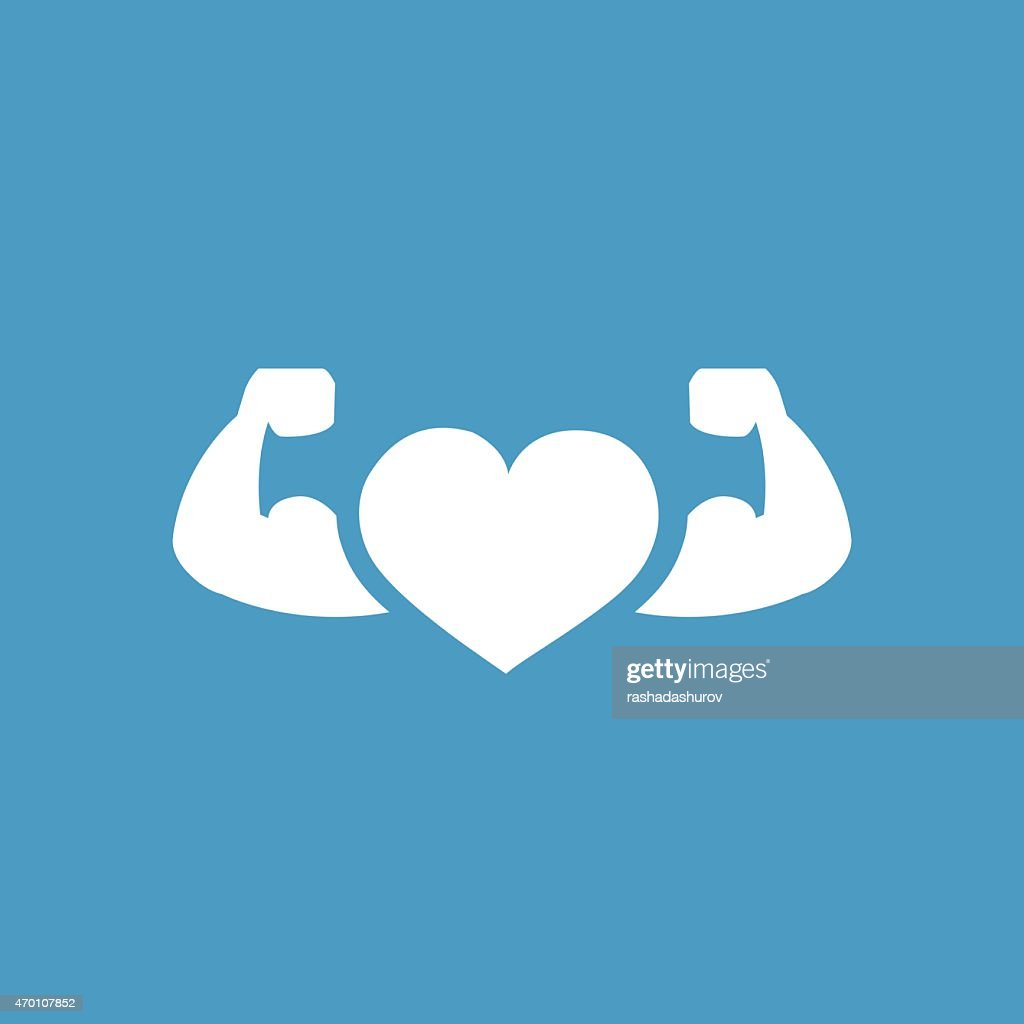 heart with muscle arms icon, white on the blue background