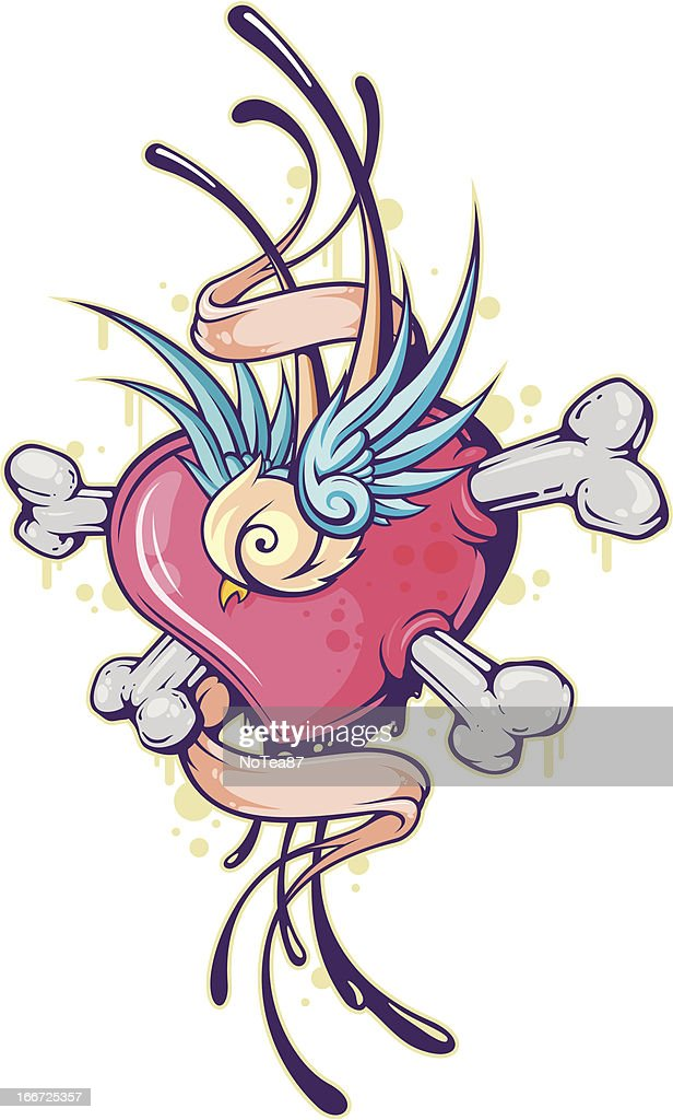 heart with swallow and tape