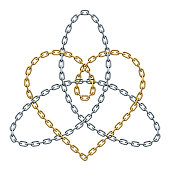 Heart with Triquetra sign of golden and silver chains. Harmony in love symbol. Vector realistic illustration.