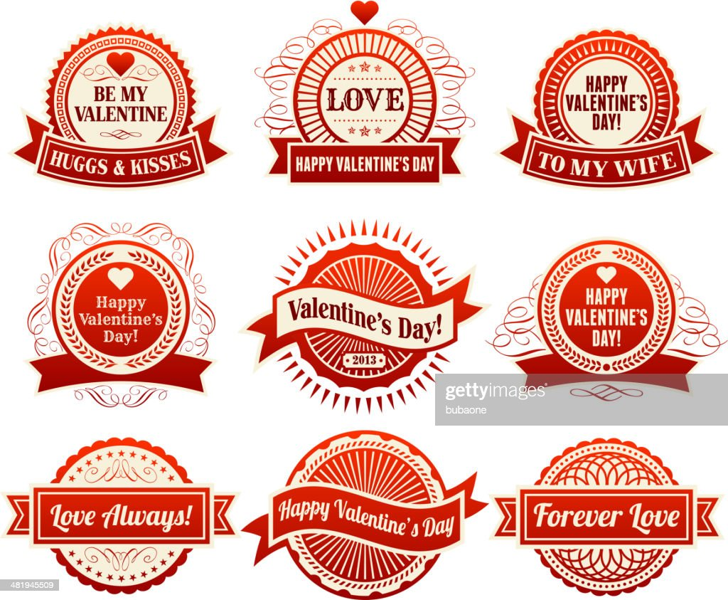 Heart with Valentine's Day Badges : Vector Art