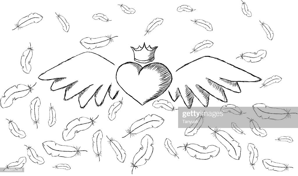 Heart with wings and feathers around