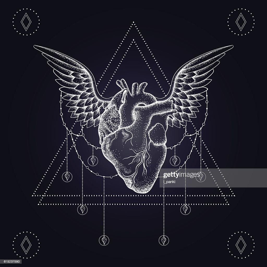 Heart with wings, boho blackwork, dotwork tattoo.