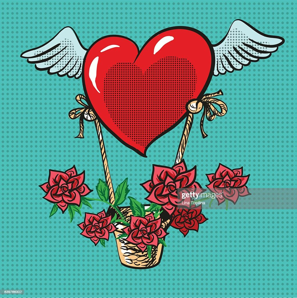 Heart with wings flying roses basket pop art comic vector