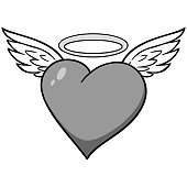 Heart with Wings Illustration
