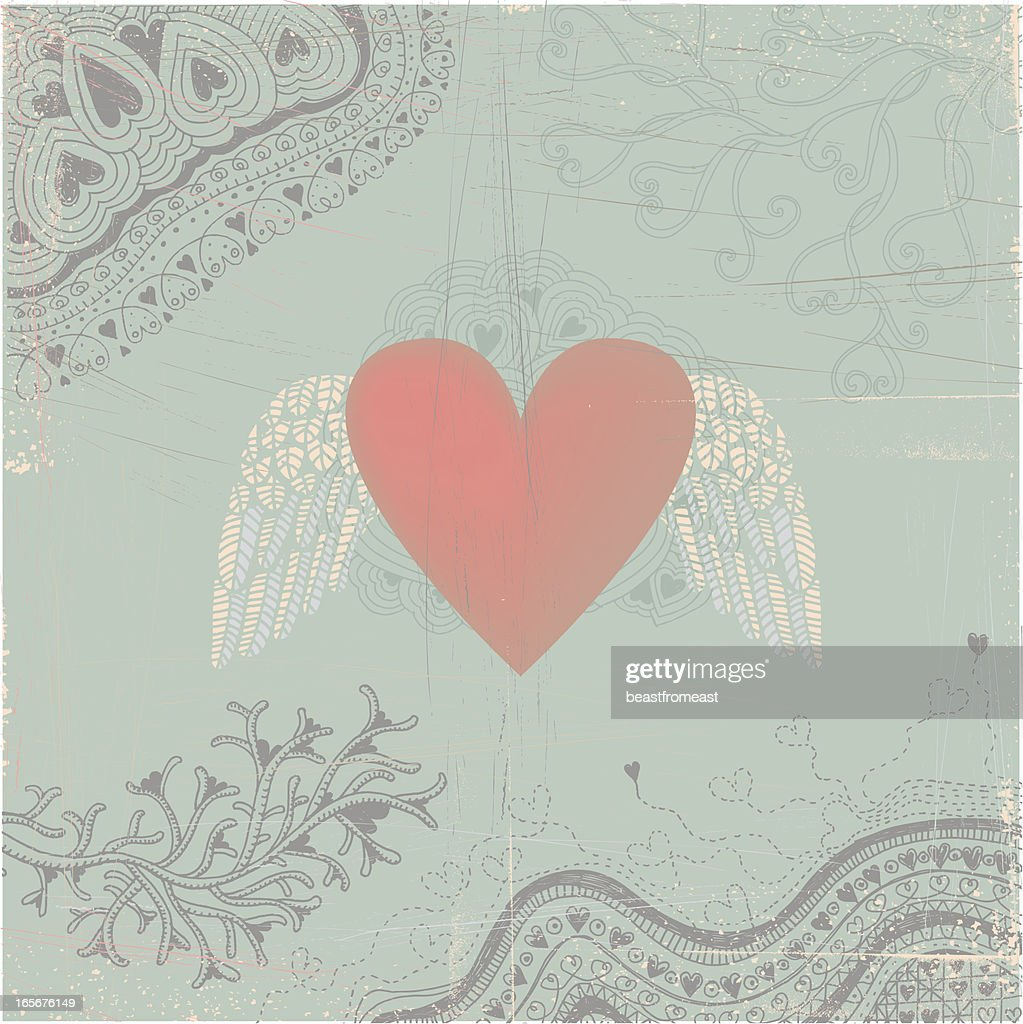 Heart with wings on seamless doodle background : Stock Illustration