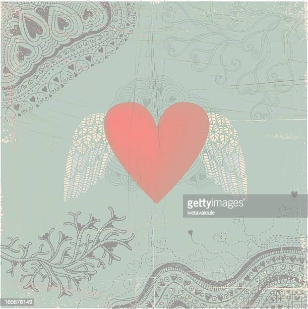 羽のハートを背景にシームレスな落書き - 結婚記念日のカード点のイラスト素材/クリップアート素材/マンガ素材/アイコン素材