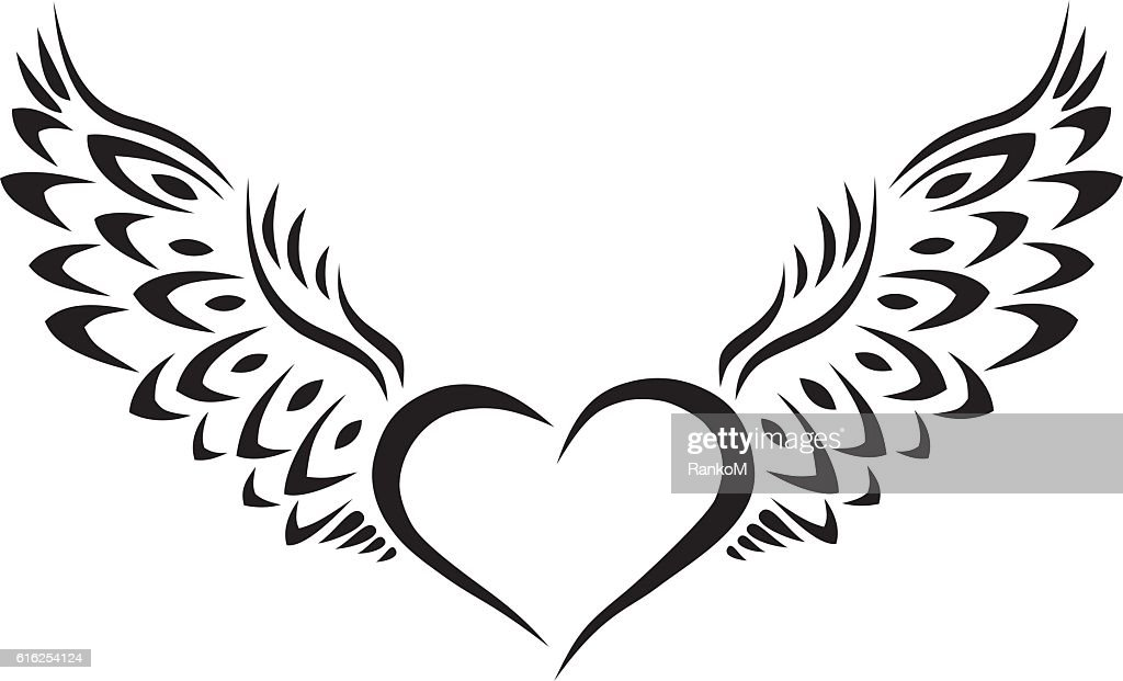Heart with Wings Tribal Tattoo : Arte vectorial