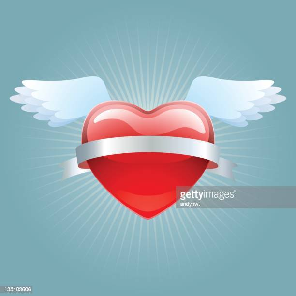 heart with wings - animal limb stock illustrations, clip art, cartoons, & icons