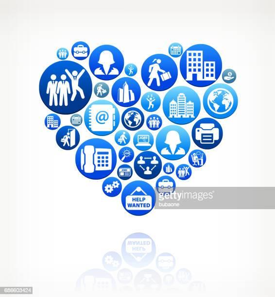 Heart Work and Employment Blue Vector Button Pattern