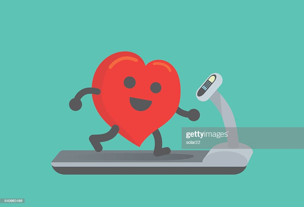 Heart workout with running on treadmill.