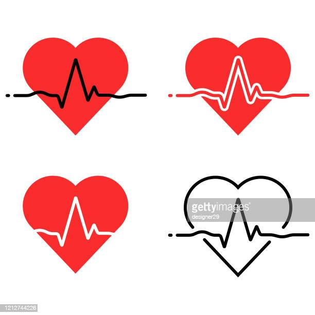 heartbeat and heart rhythm icon set. ecg - ekg, health care concept vector design on white background. - beating heart stock illustrations