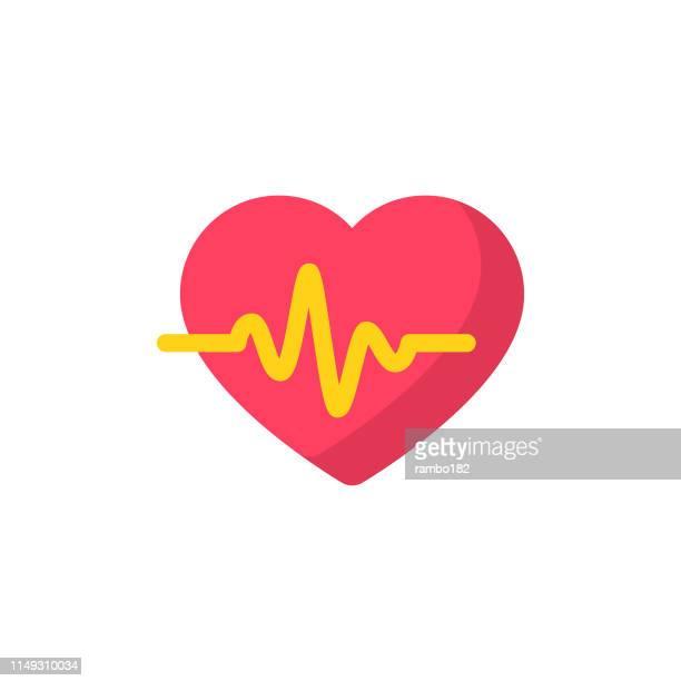 illustrazioni stock, clip art, cartoni animati e icone di tendenza di icona piatta heartbeat. pixel perfetto. per dispositivi mobili e web. - cuore