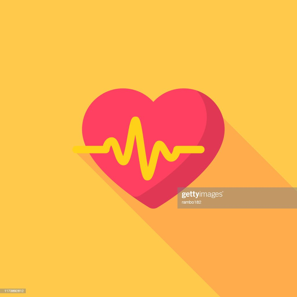 Heartbeat Flat Icon. Pixel Perfect. For Mobile and Web. : stock illustration