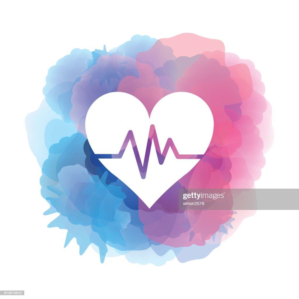 Icono de corazón sobre fondo acuarela : Ilustración de stock